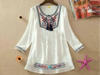 Embroidered White Cotton Top in Pakistan