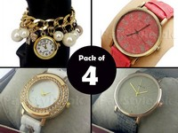 Pack of 4 Ladies Fashion Watches in Pakistan