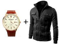 Men's Jacket & Wrist Watch Combo Pack in Pakistan