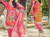 Satrangi Embroidered Cambric Cotton Dress 2-A in Pakistan