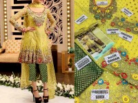 Yellow Embroidered Net Dress with Jamawar Trouser in Pakistan