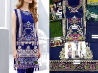 Embroidered Blue Lawn Dress with Chiffon Dupatta in Pakistan