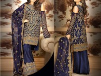 Heavy Embroidered Navy Blue Chiffon Dress in Pakistan