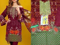 Embroidered Cotton Lawn Dress with Net Dupatta  in Pakistan