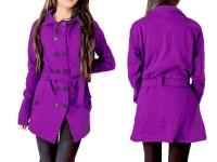 Women's Fleece Winter Coat - Purple in Pakistan