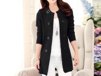 Korean Style Ladies Fleece Coat - Black in Pakistan