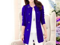 Korean Style Ladies Fleece Coat - Blue in Pakistan