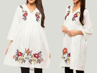 Flower Embroidery White Cotton Top in Pakistan