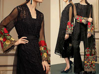 Embroidered Black Chiffon Suit with Net Dupatta Price in Pakistan