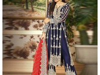 Embroidered Navy Blue Chiffon Party Dress in Pakistan
