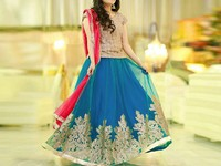 Cutwork Embroidered Net Frock with Chiffon Dupatta in Pakistan