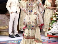 Embroidered Chiffon Lehenga with Net Dupatta in Pakistan