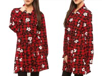 Ladies Floral Chinese Winter Coat - Red in Pakistan