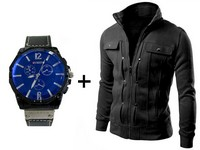 Men's Fleece Jacket & Curren Watch in Pakistan