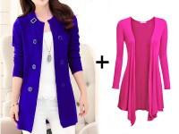 Korean Style Fleece Coat & Shrug Combo Deal in Pakistan