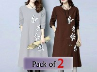 Pack of 2 Boski Linen Flower Print Tops Price in Pakistan