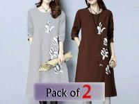 Pack of 2 Boski Linen Flower Print Tops in Pakistan