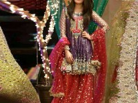 Multicolor Heavy Embroidered Net Bridal Lehenga in Pakistan
