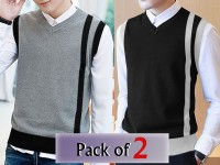 Pack of 2 Men's Sleeveless Sweaters in Pakistan