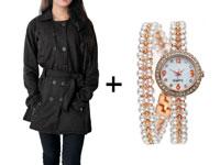Women's Fleece Coat & Pearl Bracelet Watch in Pakistan