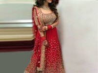 Embroidered Chiffon Red Maxi Dress in Pakistan
