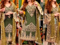 Heavy Embroidered Chiffon Suit with Net Dupatta in Pakistan