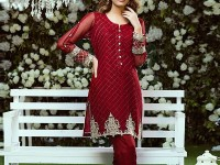2 Pieces Unstitched Embroidered Chiffon Kurti in Pakistan