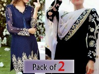 Pack of 2 Embroidered Chiffon Dresses in Pakistan