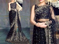 Designer Embroidered Black Chiffon Saree Price in Pakistan