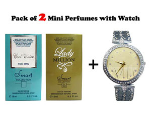 Combo Pack of Ladies Watch & 2 Mini Perfumes Price in Pakistan