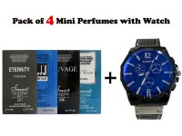Combo Pack of Men's Watch & 4 Mini Perfumes in Pakistan