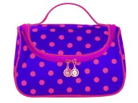 Polka Dot Travel Cosmetic Bag Case - Blue
