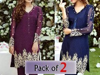 Pack of 2 Embroidered Chiffon Kurtis of Your Choice in Pakistan