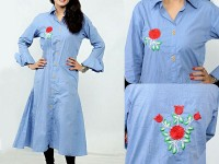 Flower Embroidery Long Cotton Shirt