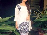 Printed White Boski Linen Kurti in Pakistan