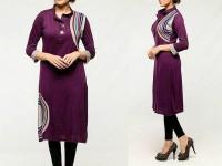 Printed Ladies Viscose Kurti - Purple in Pakistan