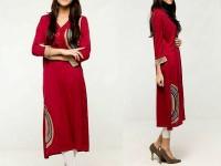 Printed Ladies Viscose Kurti - Red in Pakistan