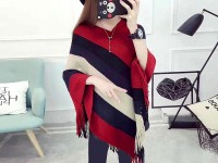Women's Winter Wool Cape Shawl - Red Price in Pakistan