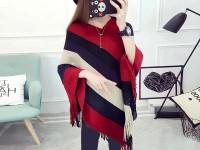 Women's Winter Wool Cape Shawl - Red in Pakistan