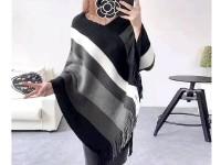 Women's Winter Wool Cape Shawl - Black in Pakistan