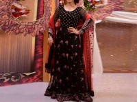 Embroidered Chiffon Black Maxi Dress in Pakistan