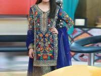 Embroidered Chiffon Royal Blue Dress in Pakistan