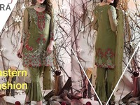 Embroidered Chiffon Moss Green Dress in Pakistan
