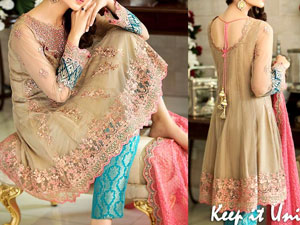 Classic Embroidered Skin Chiffon Dress in Pakistan