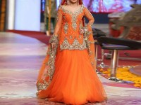 Embroidered Orange Net Bridal Dress in Pakistan