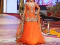 Embroidered Orange Net Bridal Dress in Pakistan