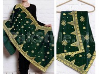 Embroidered Bridal Velvet Shawl - Green in Pakistan