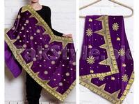 Embroidered Bridal Velvet Shawl - Purple in Pakistan