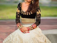 Embroidered Net & Velvet Lehenga Dress in Pakistan