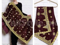 Embroidered Bridal Velvet Shawl - Maroon in Pakistan
